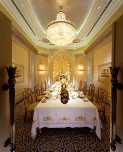 La salle à diner de la suite Palace
