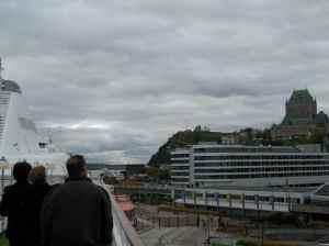La vue qu'ont les passagers en arrivant à Québec