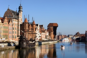 Picturesque scenery in the Old Town of Gdansk (Danzig) in Poland with Motlava river and the Crane on the far end