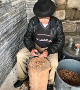 @lsiegiguere - Dans le petit village Freixo de Numâo, cet homme brise des amandes, selon la méthode traditionnelle, à l'aide d'un marteau. Ses mains ont terriblement souffert des coups reçus.